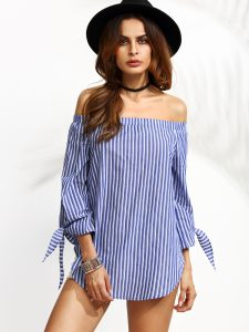 Blue Vertical Striped Off The Shoulder Tie Sleeve Top