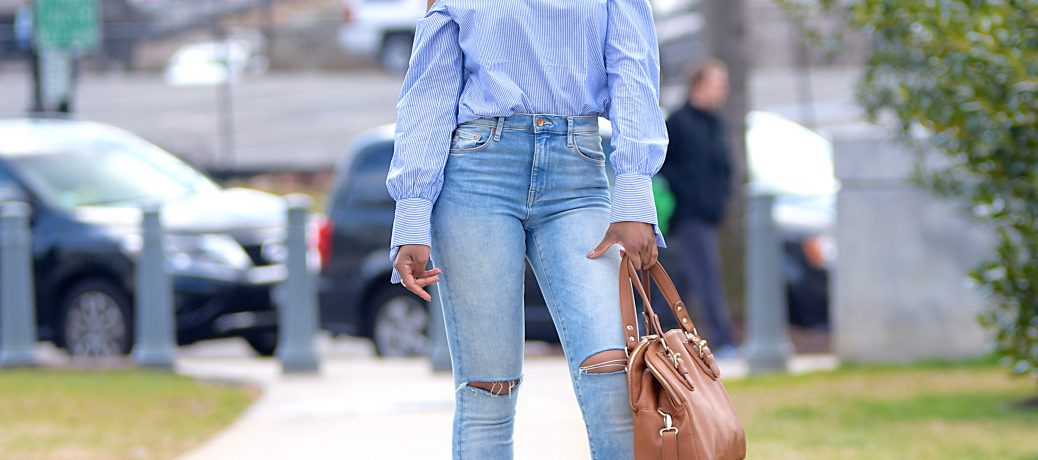 Spring Style: SheIn Cold Shoulder Top + Denim + Tan Accents