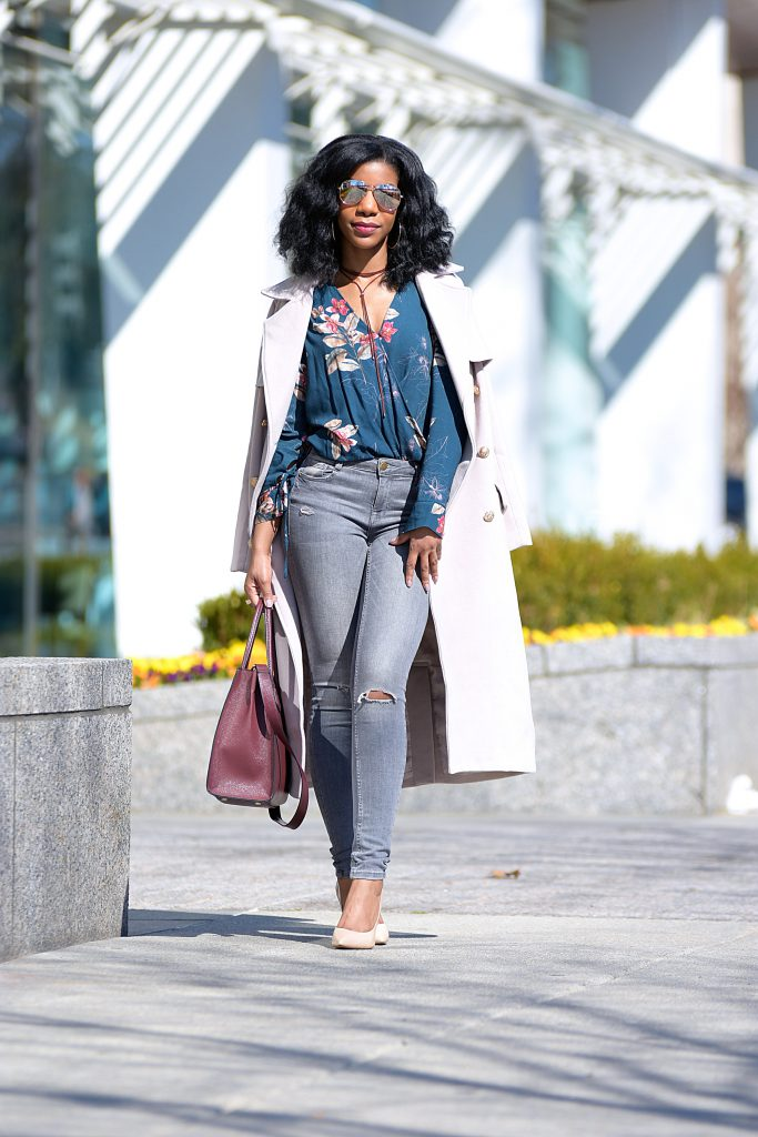 Floral Bodysuit, Blush Longline Coat, Gray Jeans, Nude Pumps, Burgundy Purse with Strap, Burgundy Choker, Mirror Aviators