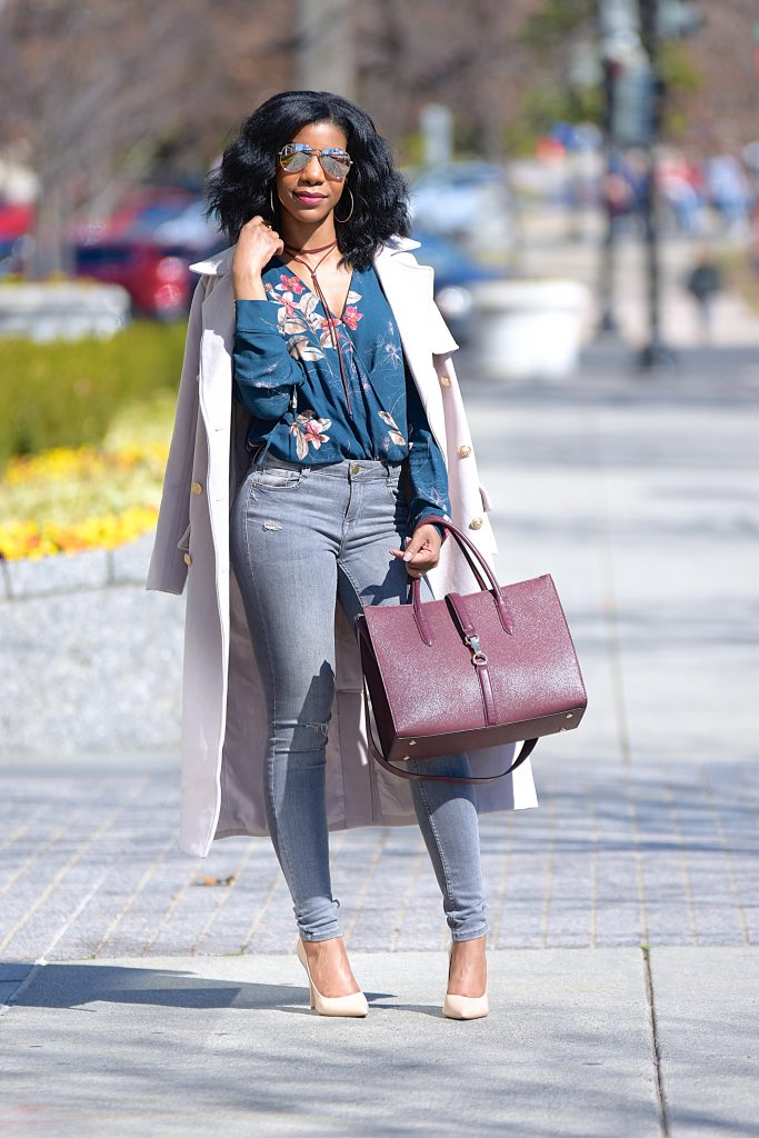 Floral Bodysuit, Blush Longline Coat, Gray Jeans, Nude Pumps, Burgundy Purse with Strap, Burgundy Choker, Mirror Aviators