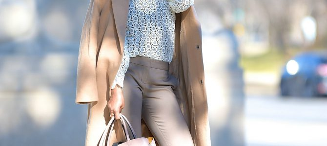 Winter/Spring Style: Cream Lace Top + Khaki Pants + Tan Longline Coat