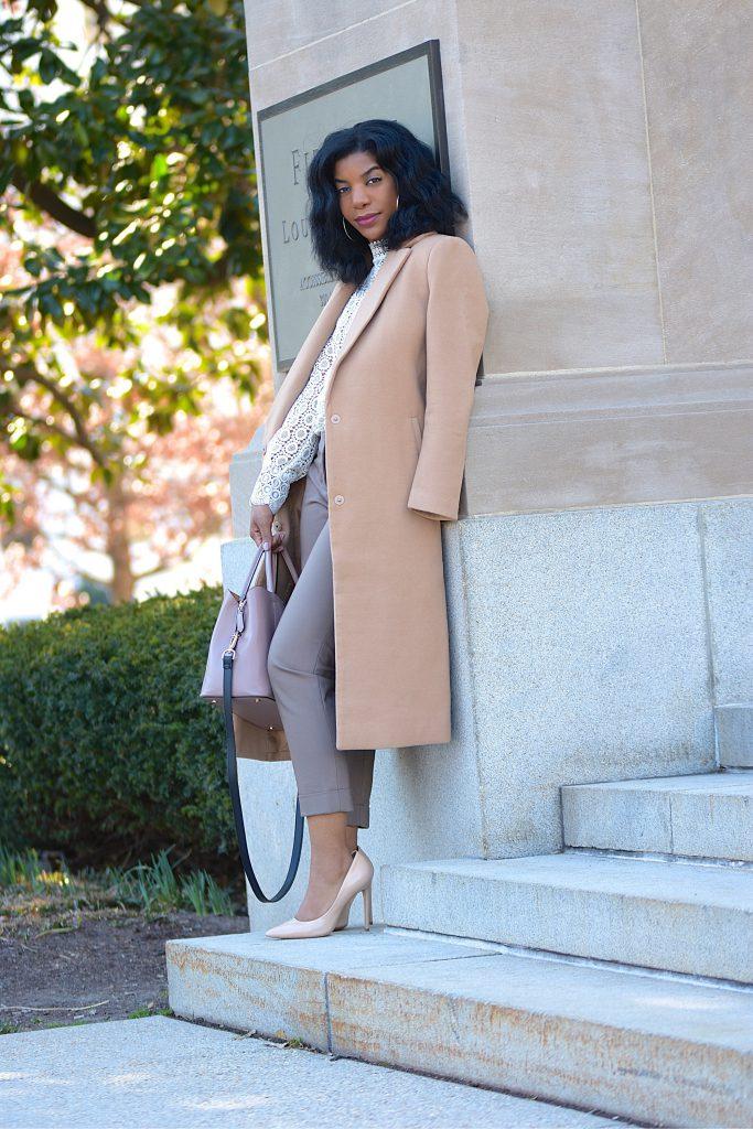 Lace Cream Top, Camel Longline Coat, Khaki Cropped Pants, Nude Purse, Nude Pumps