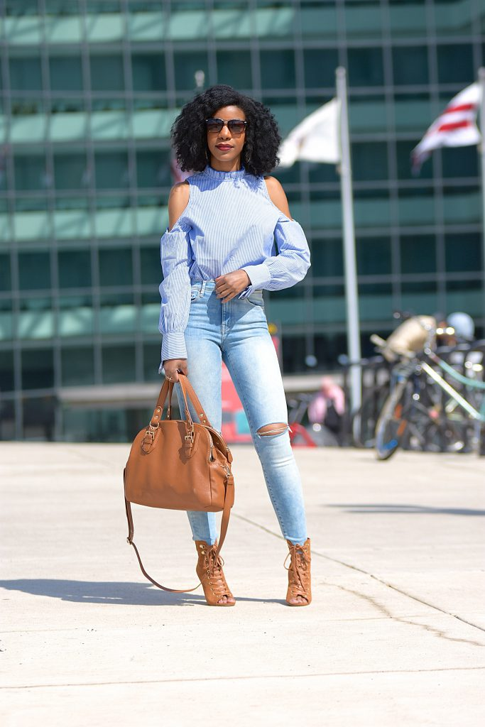 SheIn Blue Striped Cold Shoulder Blouse, High Waisted Jeans, Tan Booties, TanPurse