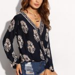 Romwe Navy Botanical Print Draped Blouse, Romwe Wrap Top