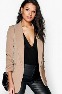 Boohoo Tan Ruched Blazer