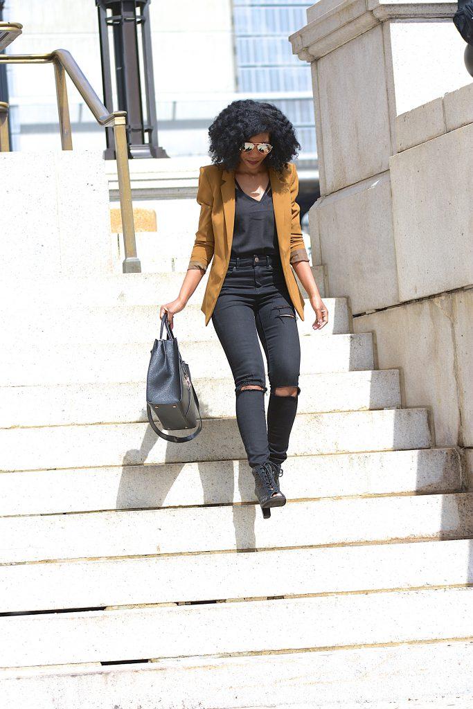 SheIn Black Scallop Hem Strappy Cami, Camel Blazer, Black Ripped Jeans