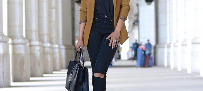 Spring Style: SheIn Black Scallop Hem Strappy Cami + Black Ripped Jeans + Camel Blazer