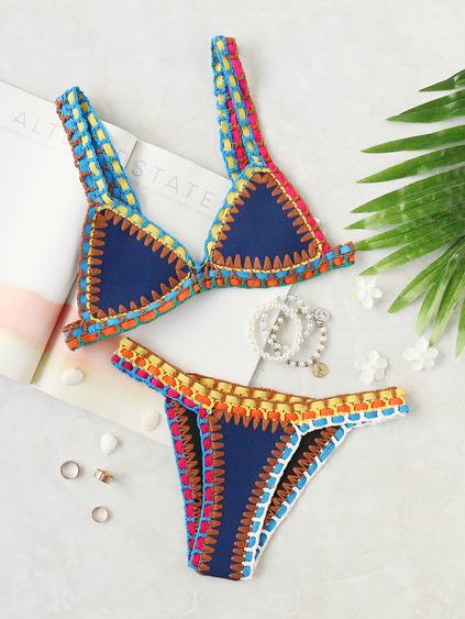Romwe Crochet Trim Blue Bikini Set