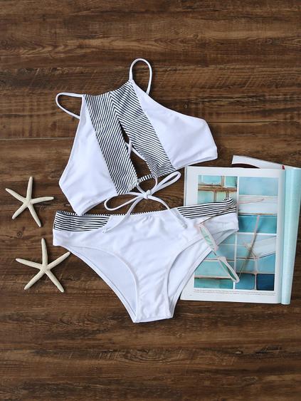 Romwe White Striped Detail Cutout Front Bikini Set