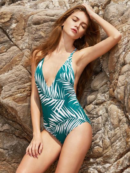 Romwe Leaf Print V Neck Open Back One-Piece Swimwear