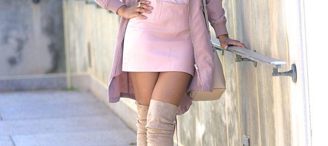 Spring Style: Pink Longline Bomber Jacket + Pink Shirt + Pink Skirt