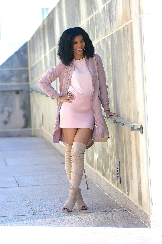 Pink Longline Bomber, Pink Faux Leather Skirt, Pink Top, Taupe Peeptoe, Thigh Highs