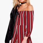 BOOHOO SUZIE STRIPED OFF THE SHOULDER PLAYSUIT