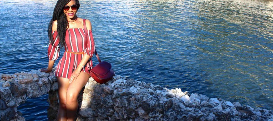 Cuba Travel Style: Burgundy Striped Romper