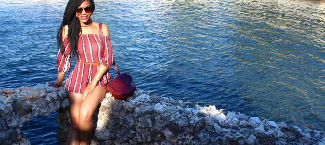 Cuba Travel Style: Burgundy Striped Romper