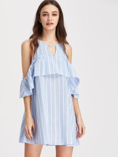 SheIn Open Shoulder Vertical Striped Ruffle Dress, affordable summer dress, vacation dress, summer dress, cute summer dress