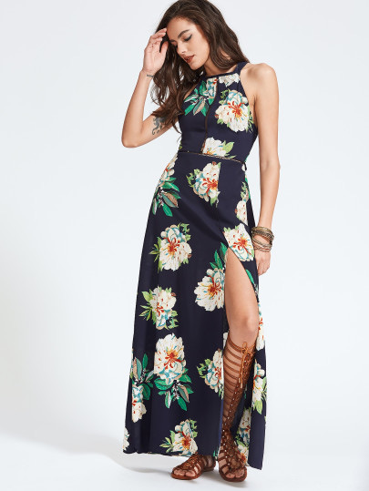 SheIn Halter Laser-cut Bow Tie Backless Slit Dress, maxi dress, floral print maxi dress, affordable maxi dress, cute maxi dress, vacation dress, summer dress