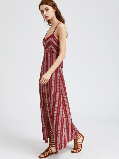 SheIn Tribal Striped Lace Up Back High Slit Dress, maxi dress, affordable summer dress, vacation dress, summer dress, cute summer dress