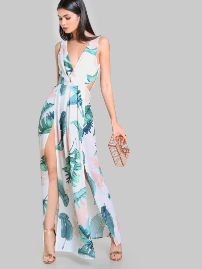 SheIn Ivory Tie Up Split Front Maxi Dress, maxi dress, affordable summer dress, vacation dress, summer dress, cute summer dress
