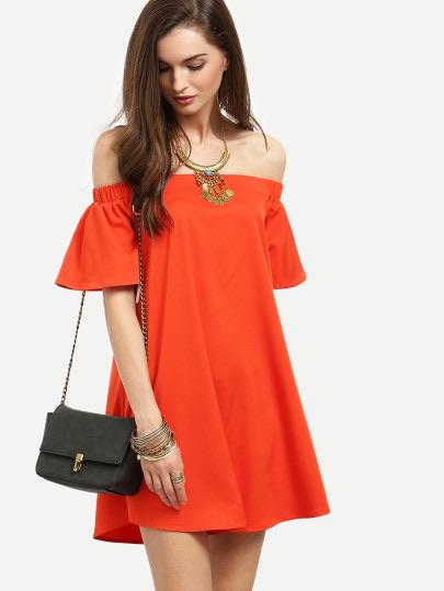 Bardot Flounce Sleeve Flare Dress, affordable summer dress, vacation dress, summer dress, cute summer dress