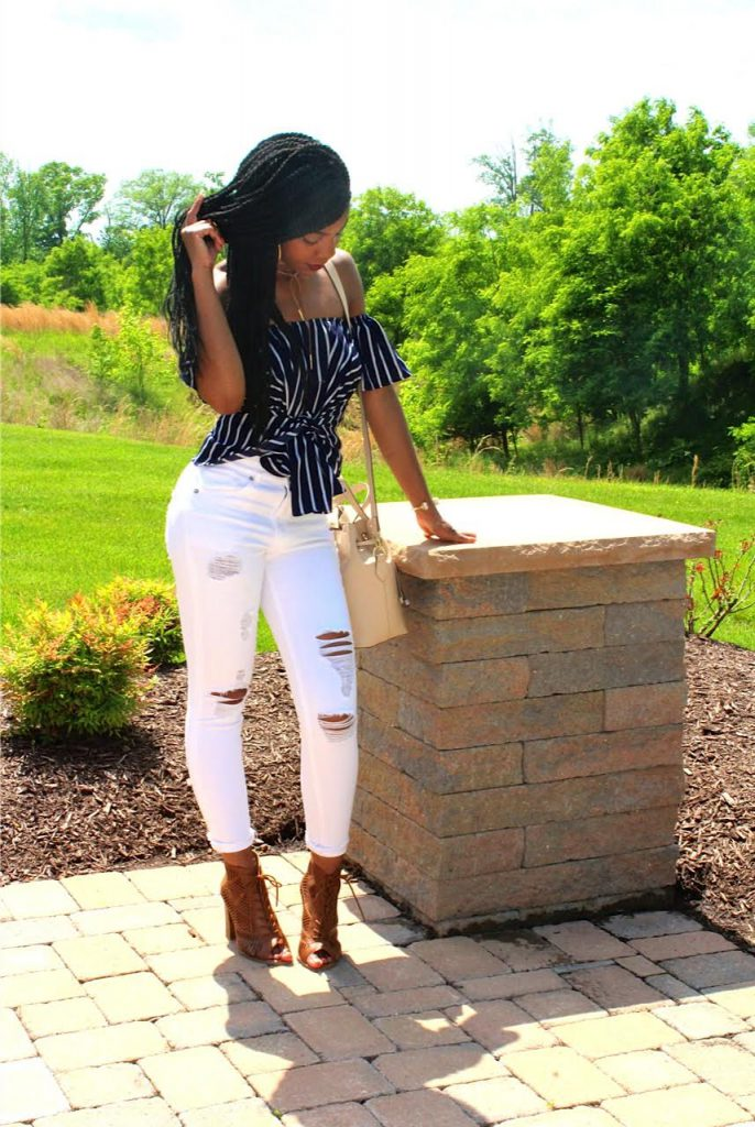 Romwe Striped Off The Shoulder Top, Express White Distressed Jeans, Camel Open Toe Booties, Nude Bucket Bag