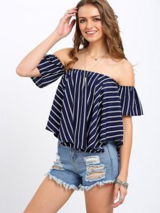 romwe striped off the shoulder top, denim cutoff shorts