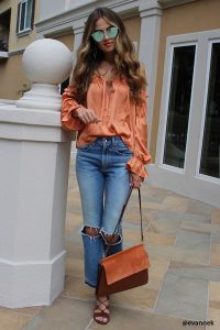 Forever21 Orange Ruffled Cold Shoulder Top