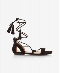 Express Black Flat Lace Up Tassel Sandals