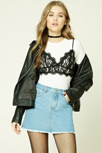 Forever 21 Frayed Denim Mini Skirt