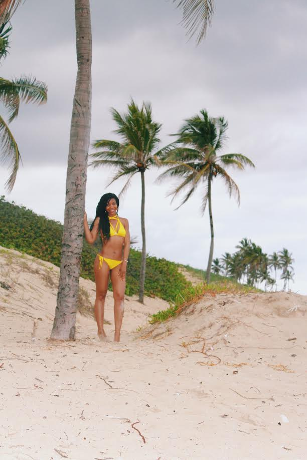 AmiClubwear - Sexy Yellow Strappy Front High Polish Accent Two Piece Swimsuit, Yellow Bikini, Havana, Cuba, Santa Maria Del Mar Beach