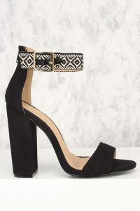Amiclubwear Black Embroider Ethnic Print Open Toe Single Sole Chunky Heels Canvas, Strappy Sandals, Single Sole Black Sandals