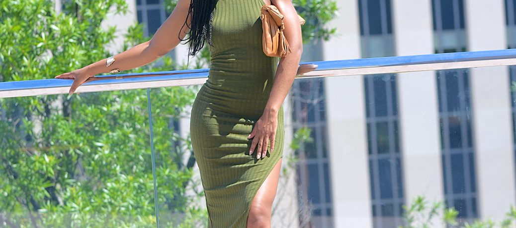 Spring/Summer Style: Olive Green SheIn Midi Dress + Nude Caged Sandals