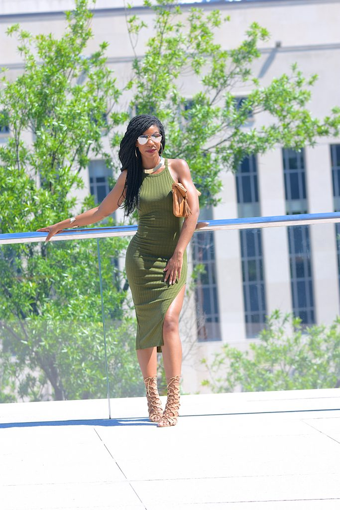 a108473ad1 SheIn Side Slit Ribbed Olive Green Cami Midi Dress, Khaki Green, Olive Green ,