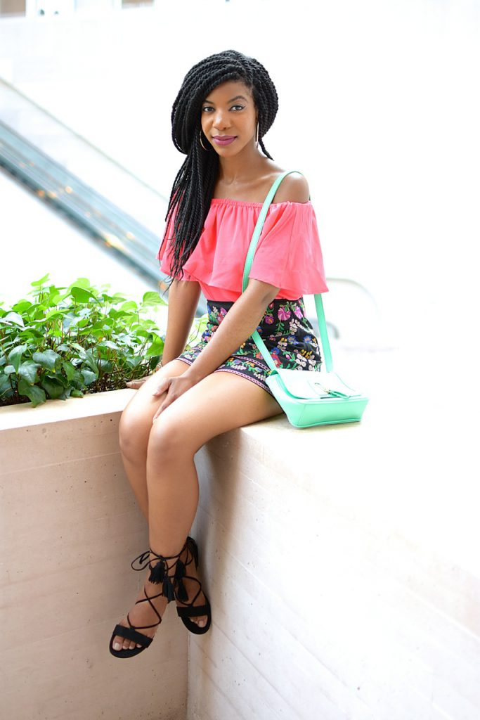 BarIII Pink Off The Shoulder Top Romwe Black Floral Embroidery Mini Skirt