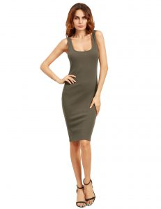 She In Khaki Green Double Scoop Tank Dress