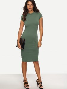 SheIn Green Cap Sleeve Crew Neck Sheath Dress