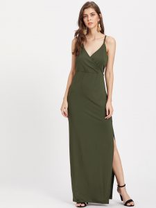 SheIn Surplice Neckline Slit Side Cami Dress