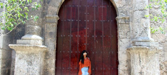 Cuba Travel Style: Orange Cold Shoulder Top + Denim Skirt + Nude Sandals