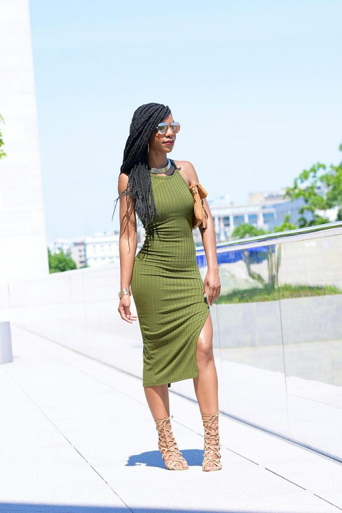 SheIn Side Slit Ribbed Olive Green Cami Midi Dress, Khaki Green, Olive Green, Nude Aldo Caged Sandals, Mirror Aviators