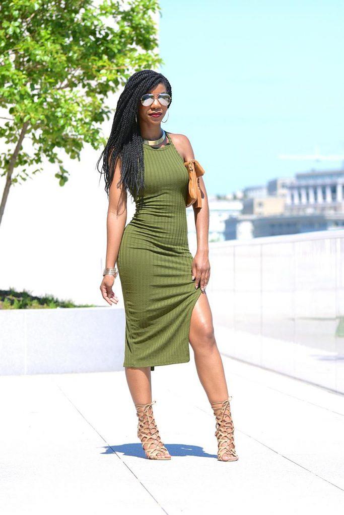SheIn Side Slit Ribbed Olive Green Cami Midi Dress, Khaki Green, Olive Green ,