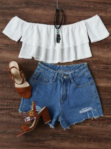 Romwe White Flounce Layered Neckline Crop Top
