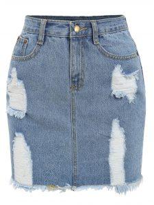 Romwe Frayed Denim Pencil Skirt