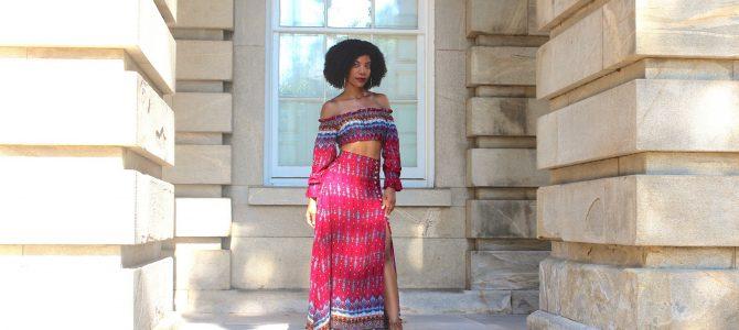 Summer Style: SheIn Vintage Print Drawstring Bardot Top With Split Skirt