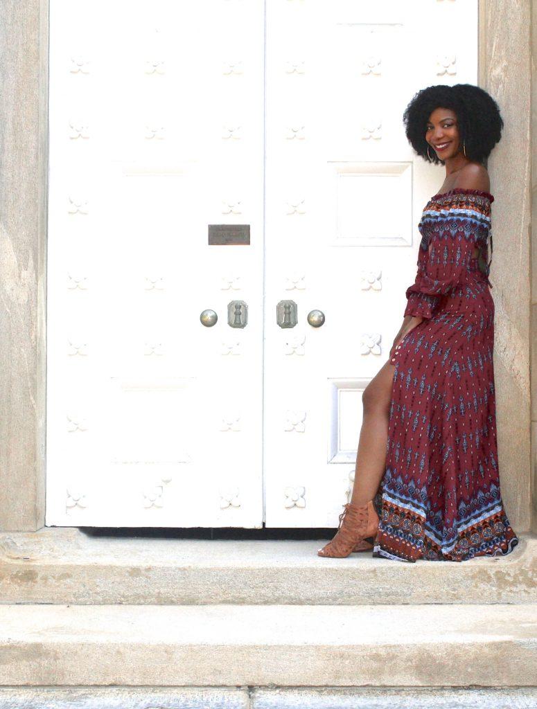 SheIn Vintage Print Drawstring Bardot Top With Split Skirt