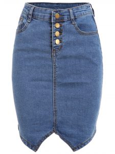 Romwe Buttoned Fly Denim Pencil Skirt