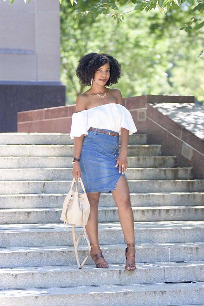 Romwe White Off The Shoulder Crop Top, Blue Asymmetric Button Front Slit Pencil Denim Skirt, Zara Snakeskin Sandals, Jord Wood Watch, Target Nude Bucket Bag
