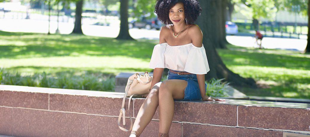 Summer Style: Romwe White Off The Shoulder Top + Romwe Denim Skirt