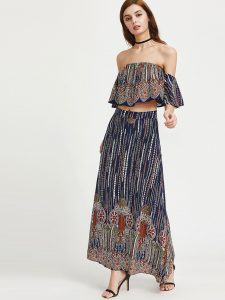 SheIn Printed Flounce Layered Neckline Ruffle Top With Skirt