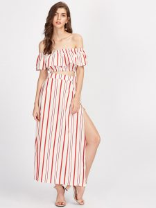 SheIn Red and White Vertical Striped Ruffle Crop Top With Split Skirt