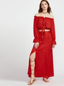 SheIn Red Tassel Tie Ruffle Crop Top With Skirt